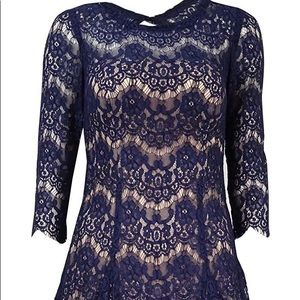 Betsy & Adam lace-overlay Tull A-Line dress